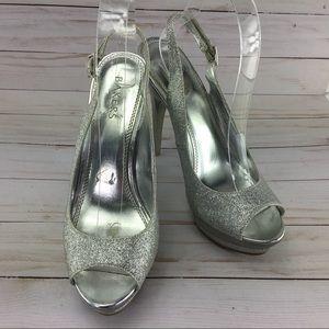 ❤️Bakers Flash Silver platform heels